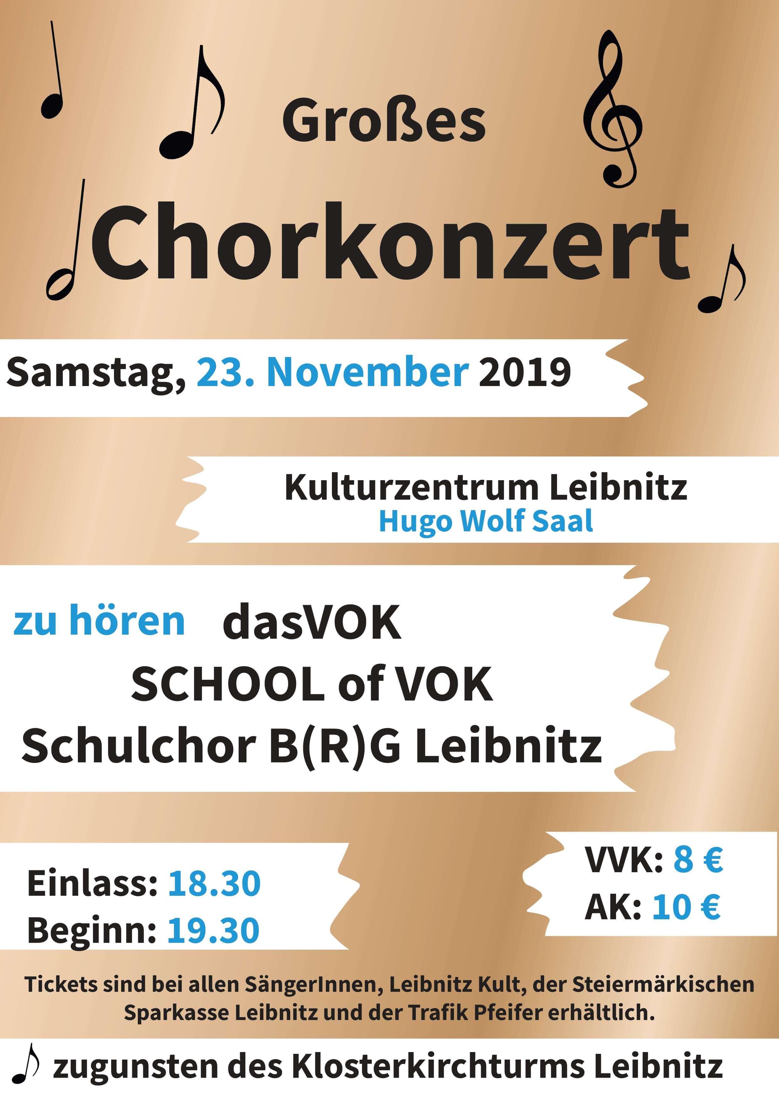 Grosses Chorkonzert zugunsten des Klosterkirchturms Leibnitz
